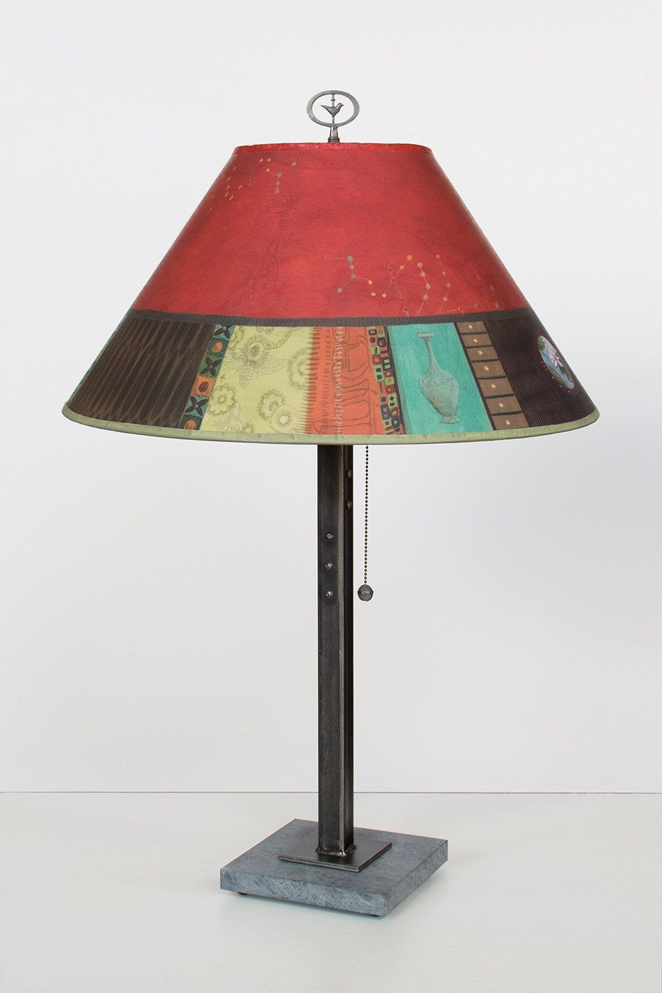 Steel Table Lamp on Italian Marble with Large Conical Shade in Red Match