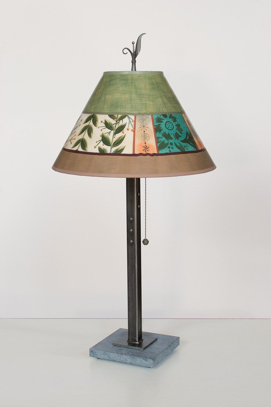 Steel Table Lamp on Marble with Medium Conical Shade in Spring Medley Apple Lit
