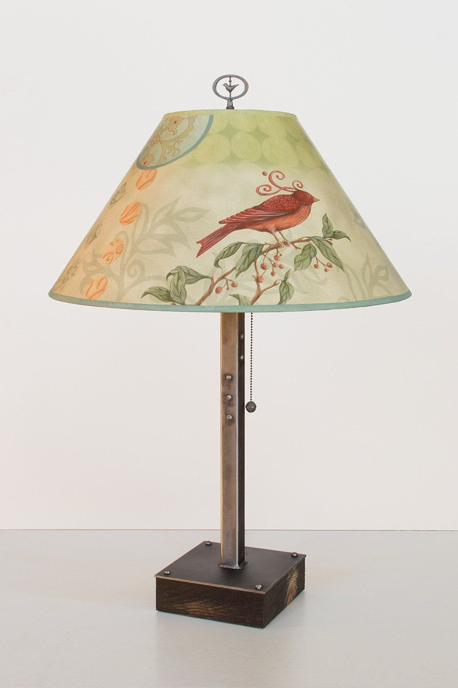 Steel Table Lamp on Wood with Large Conical Shade in Birdscape