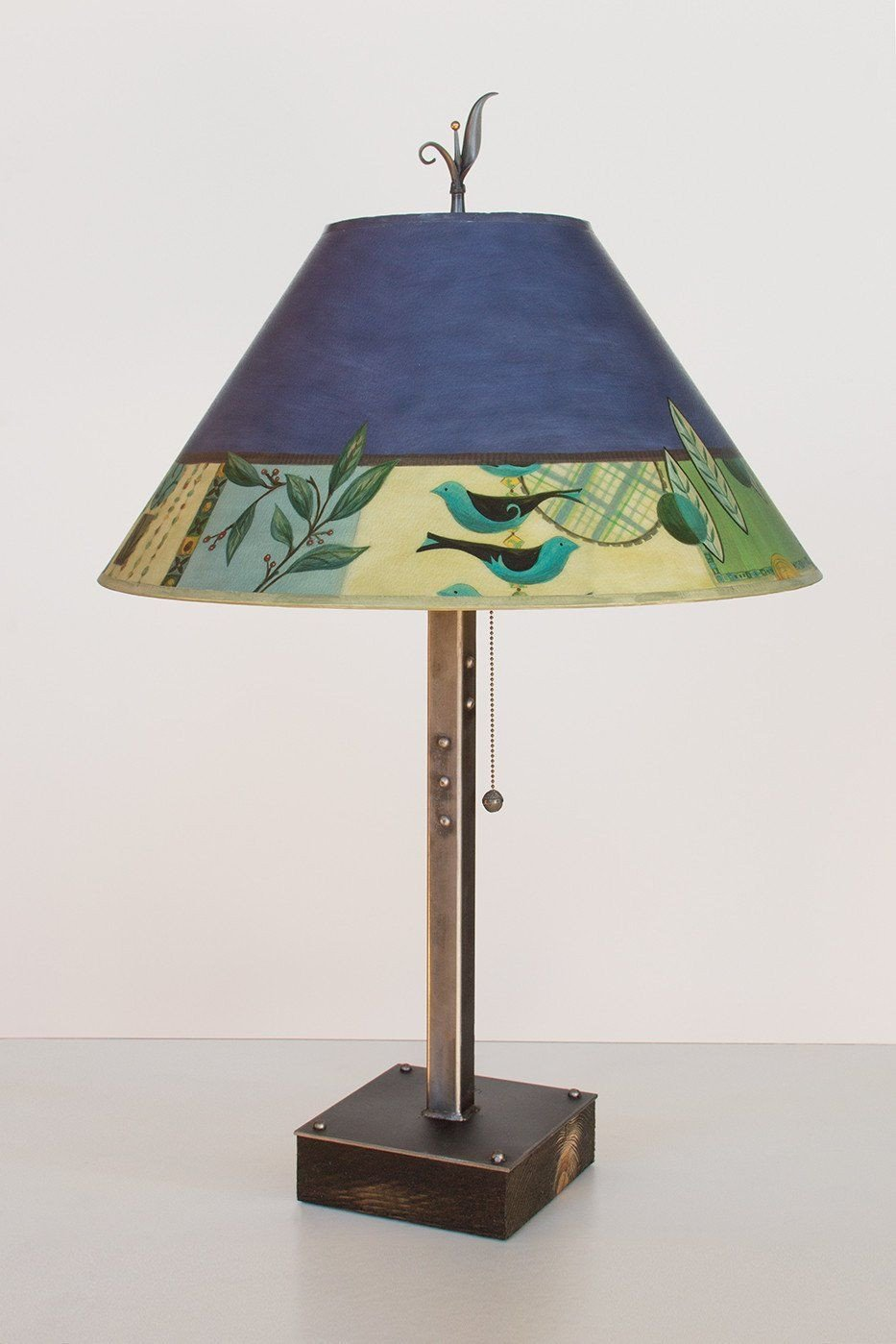 Steel Table Lamp on Wood with Large Conical Shade in New Capri Periwinkle
