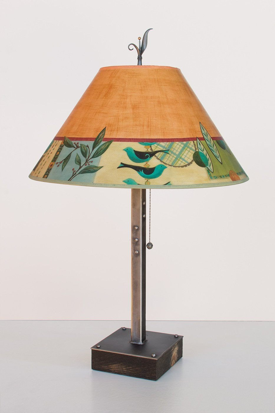 Steel Table Lamp on Wood with Large Conical Shade in New Capri Spice