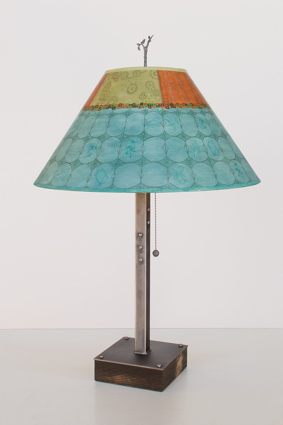 Steel Table Lamp on Wood with Large Conical Shade in Paradise Pool