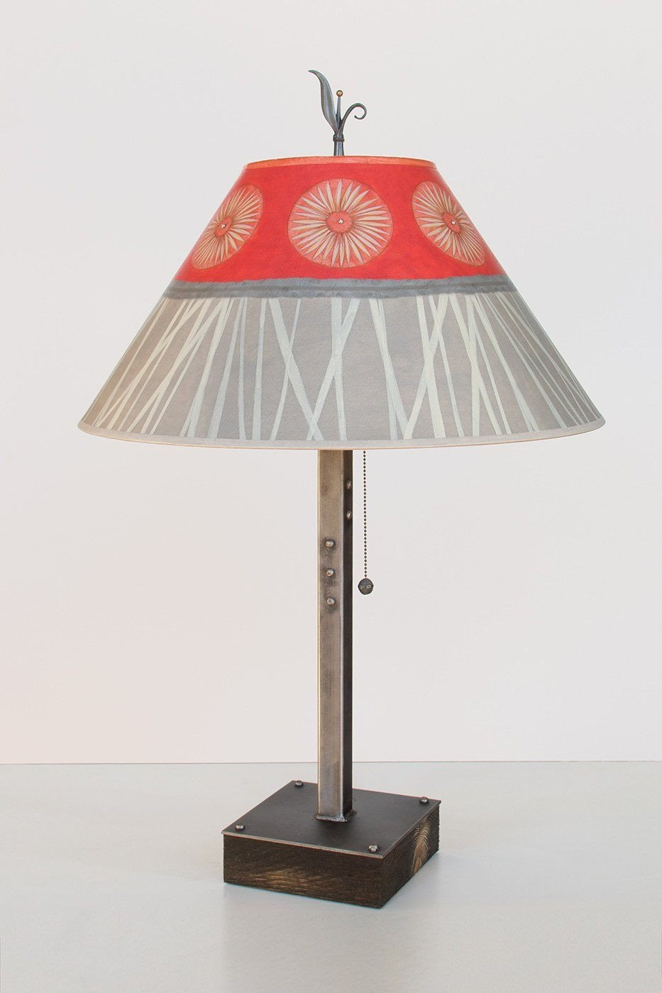 Steel Table Lamp on Wood with Large Conical Shade in Tang