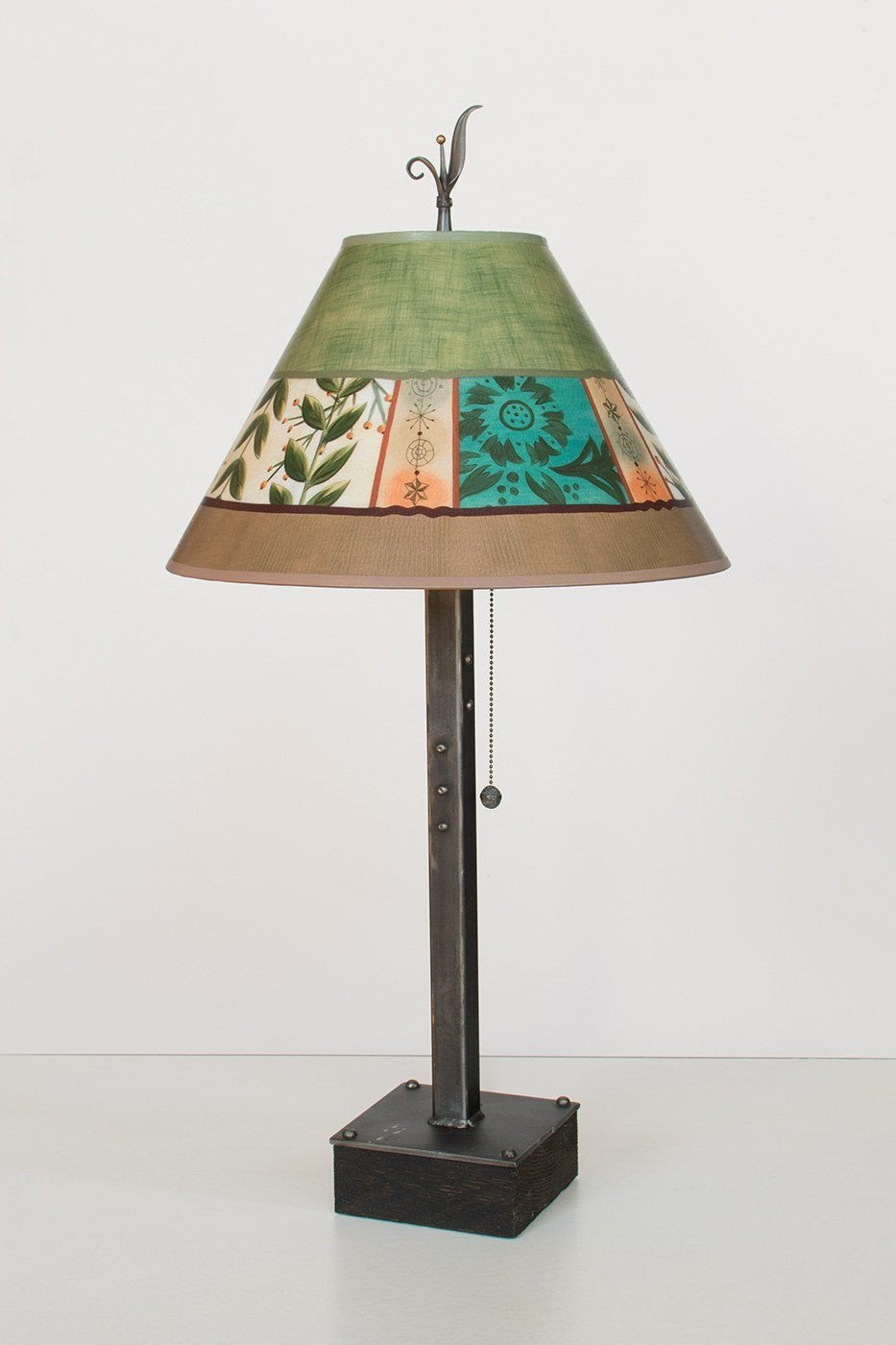 Steel Table Lamp on Wood with Medium Conical Shade in Spring Medley Apple - Lit