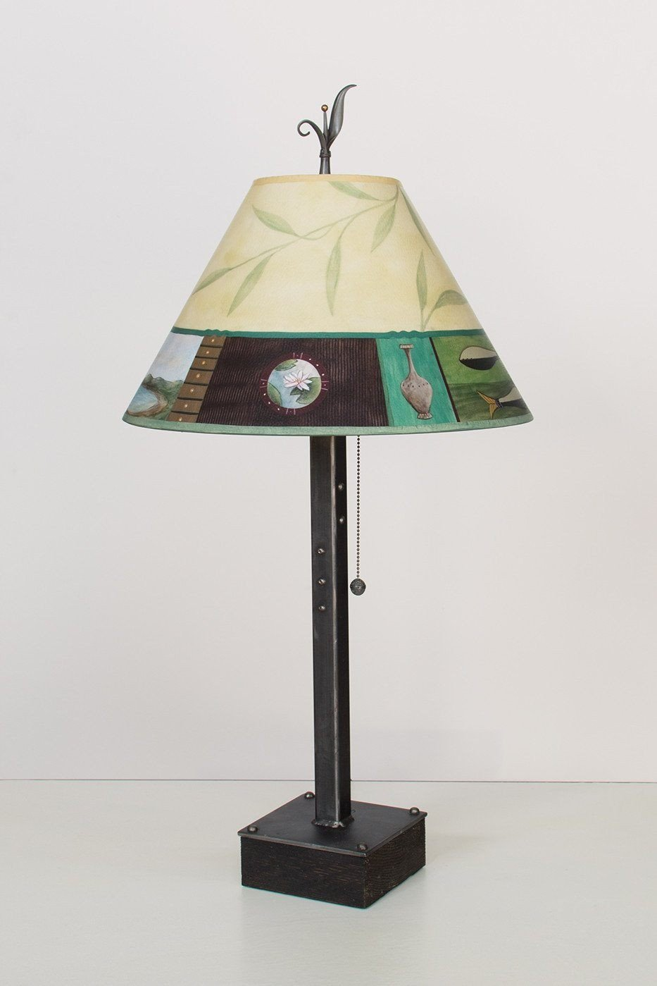 Steel Table Lamp on Wood with Medium Conical Shade in Twin Fish Lit
