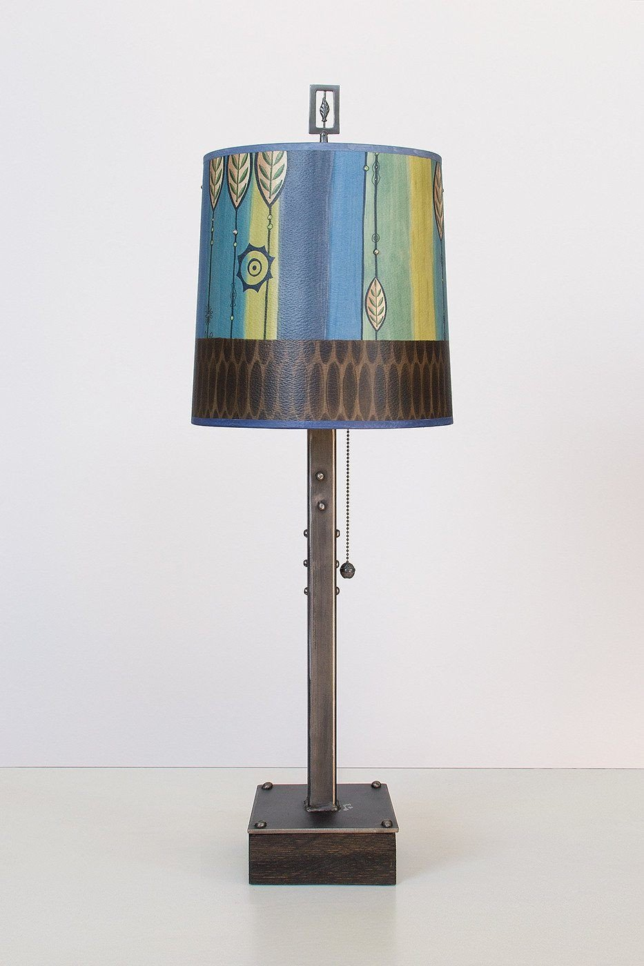 Steel Table Lamp on Wood with Medium Drum Shade in Leaf Stripe Blues