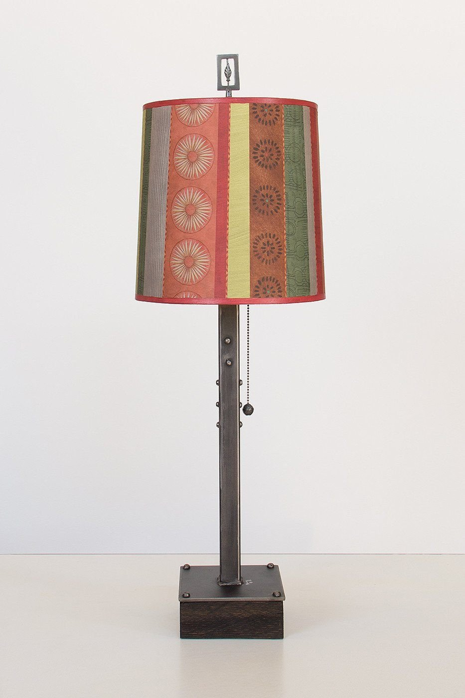 Steel Table Lamp on Wood with Medium Drum Shade in Modern Serape
