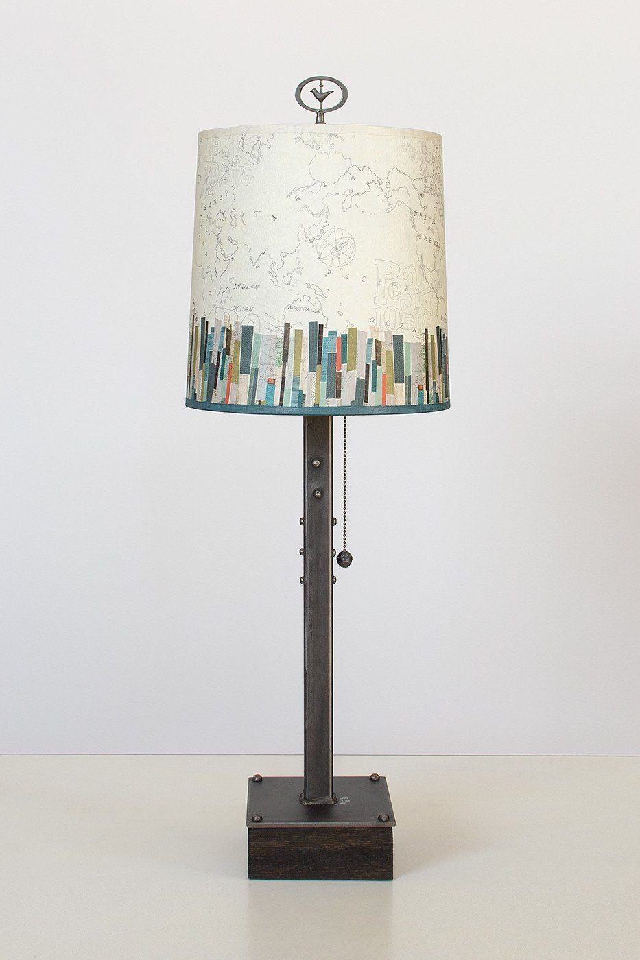 Steel Table Lamp on Wood with Medium Drum Shade in Papers Edge