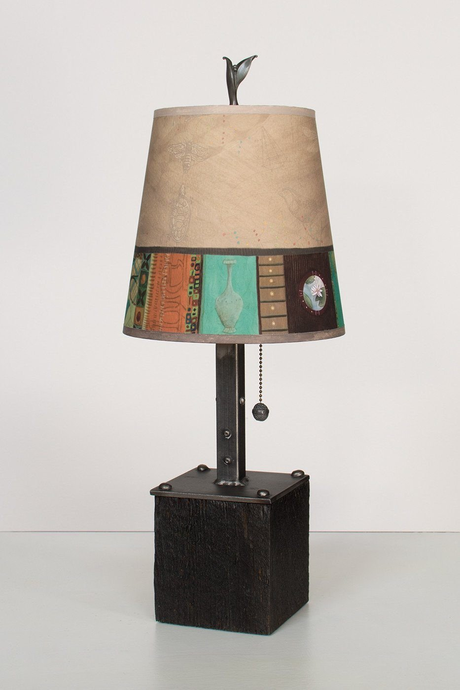 Steel Table Lamp on Reclaimed Wood with Small Drum Shade in Linen Match Lit