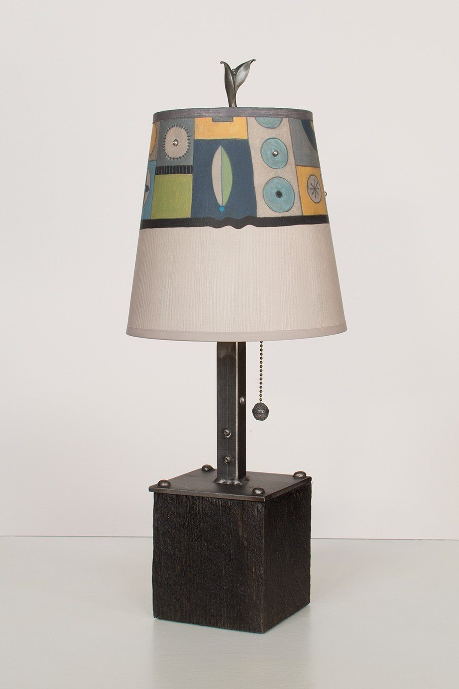 Steel Table Lamp on Reclaimed Wood with Small Drum Shade in Lucky Mosaic Oyster Lit