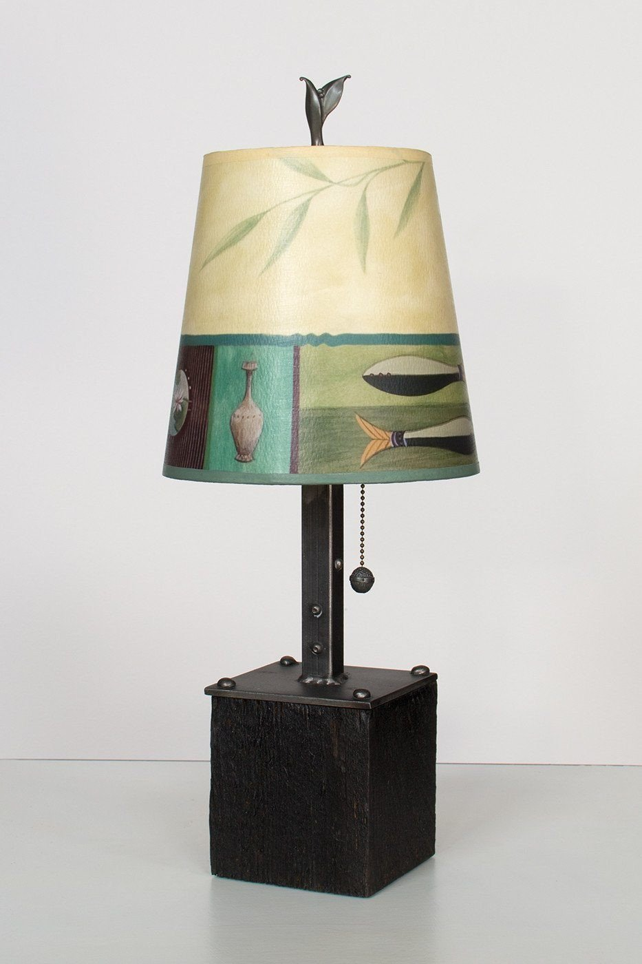 Steel Table Lamp on Reclaimed Wood with Small Drum Shade in Twin Fish Lit
