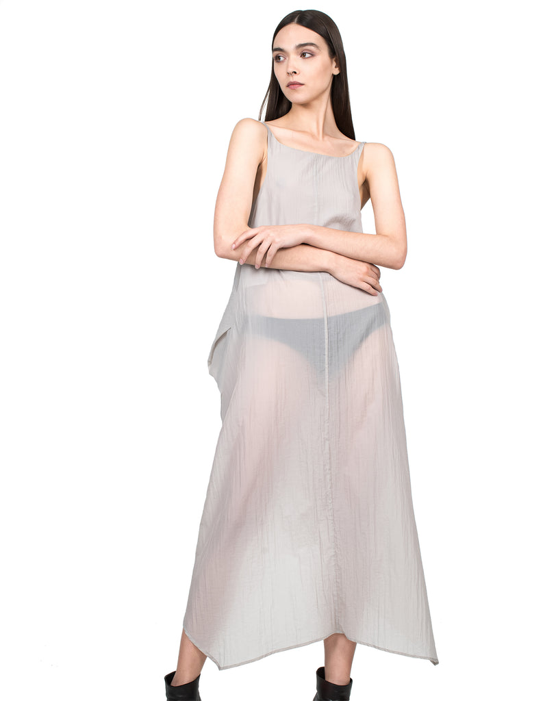 Draped Translucent Tank Dress