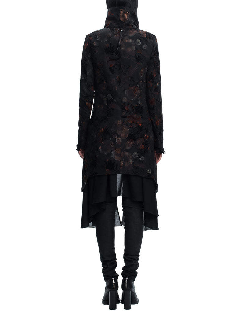 Flower Printed Double-Layered Coat
