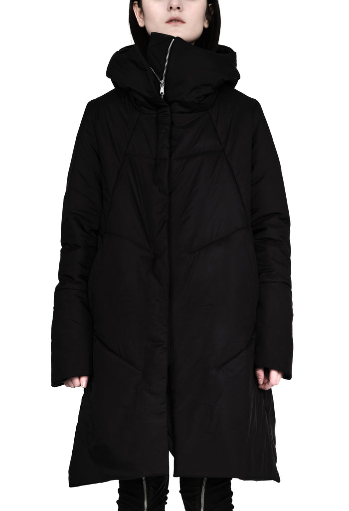 Asymmetric Hooded Padded Coat