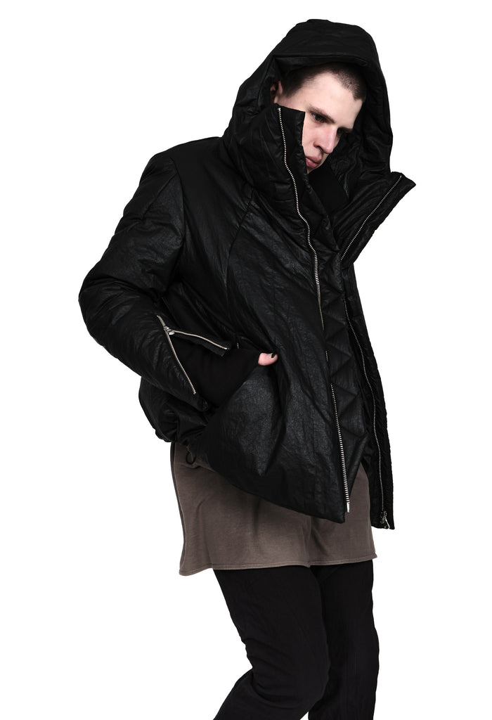 Waxed Hooded Padded Jacket
