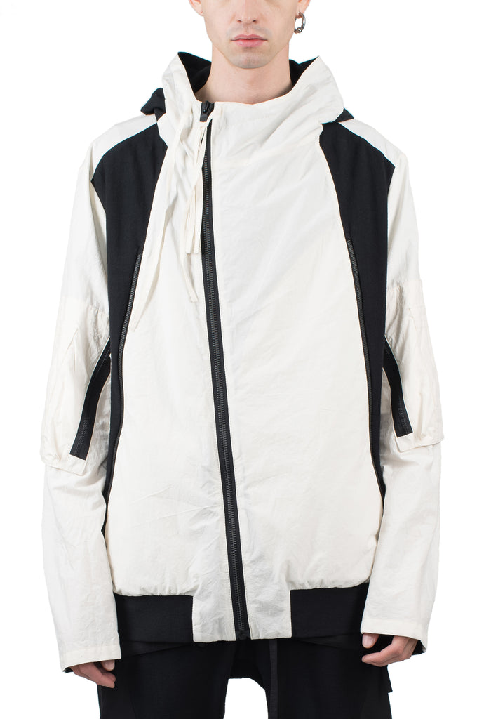 Contrast Hooded Bomber Jacket