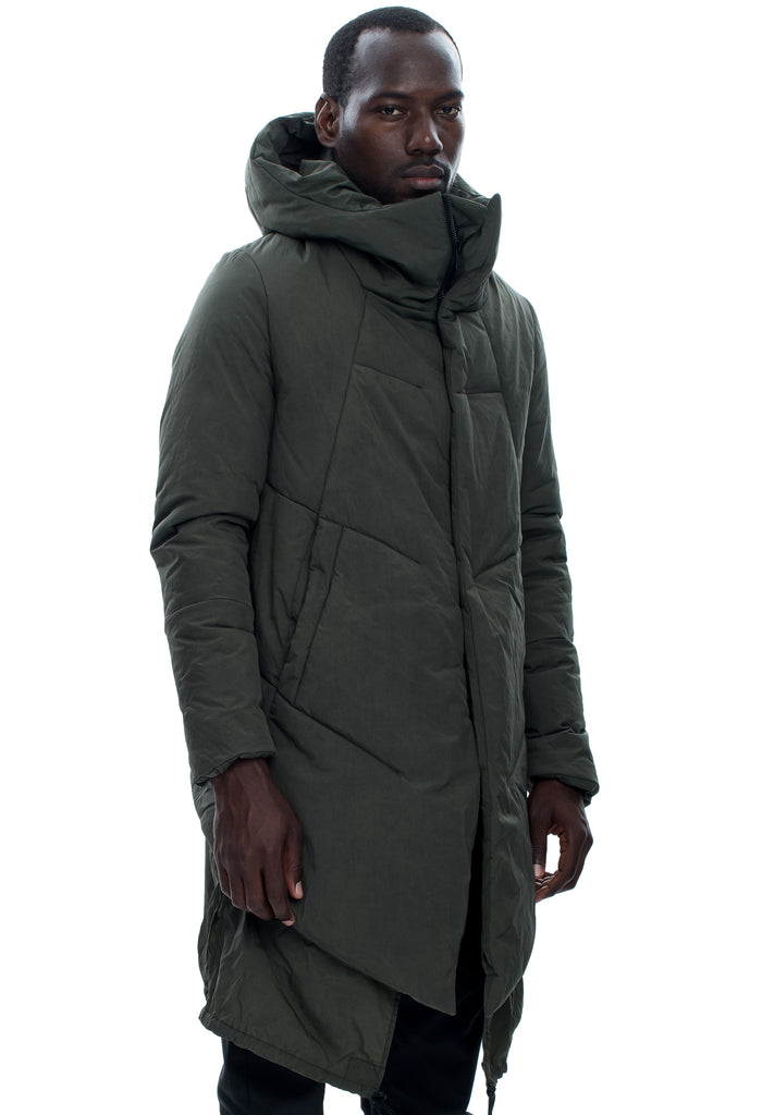 Insulated Waxed Nylon Hooded Green Parka
