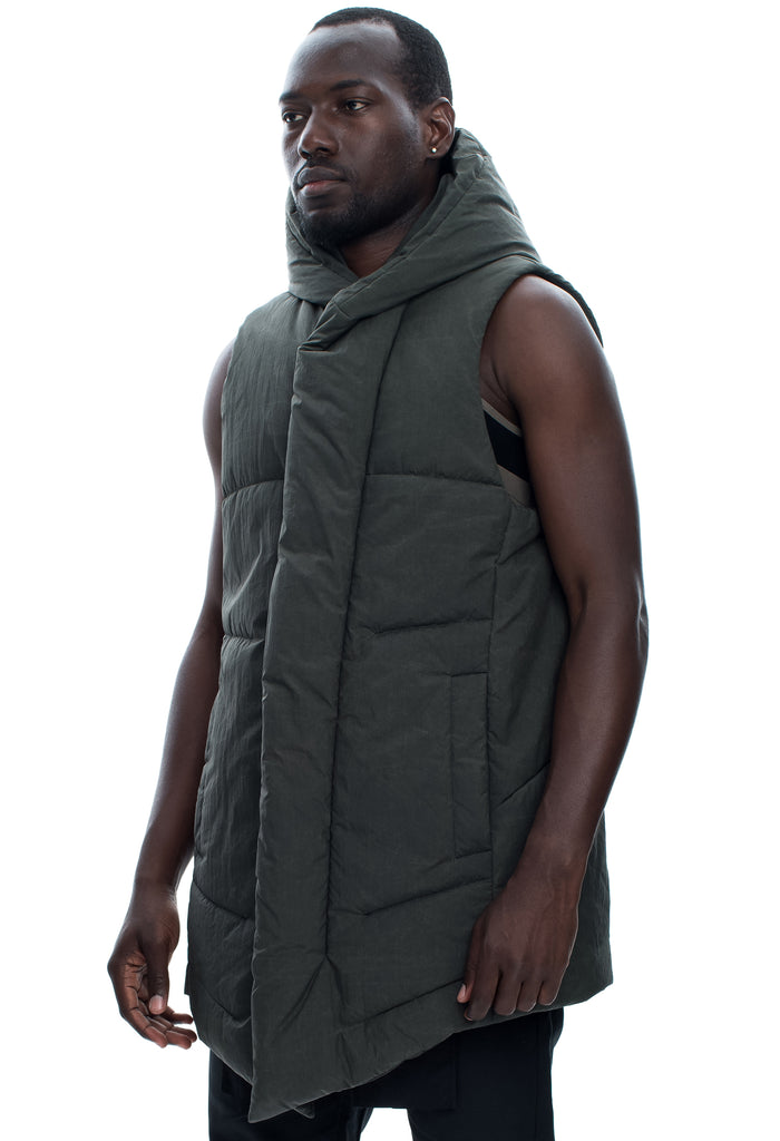 Insulated Nylon Hooded Green Vest