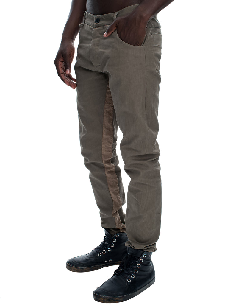 Washed Cotton Beige Trousers