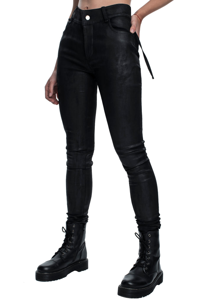 Coated Stretch Skinny Jeans