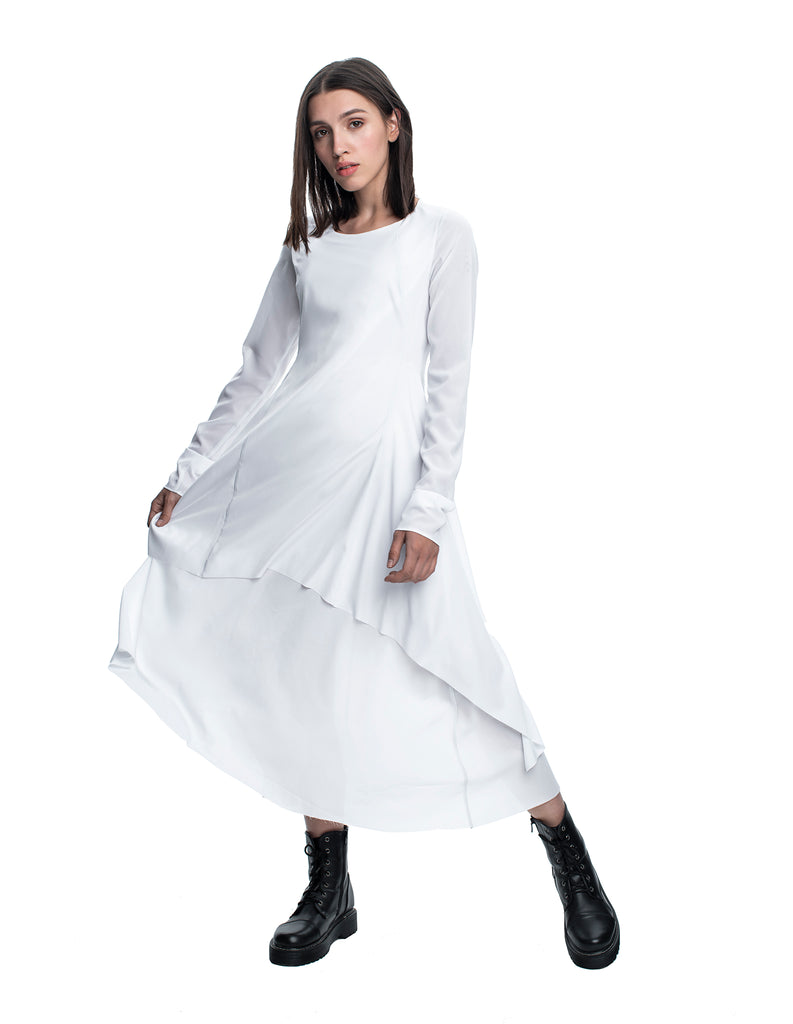 Double-Layered White Dress