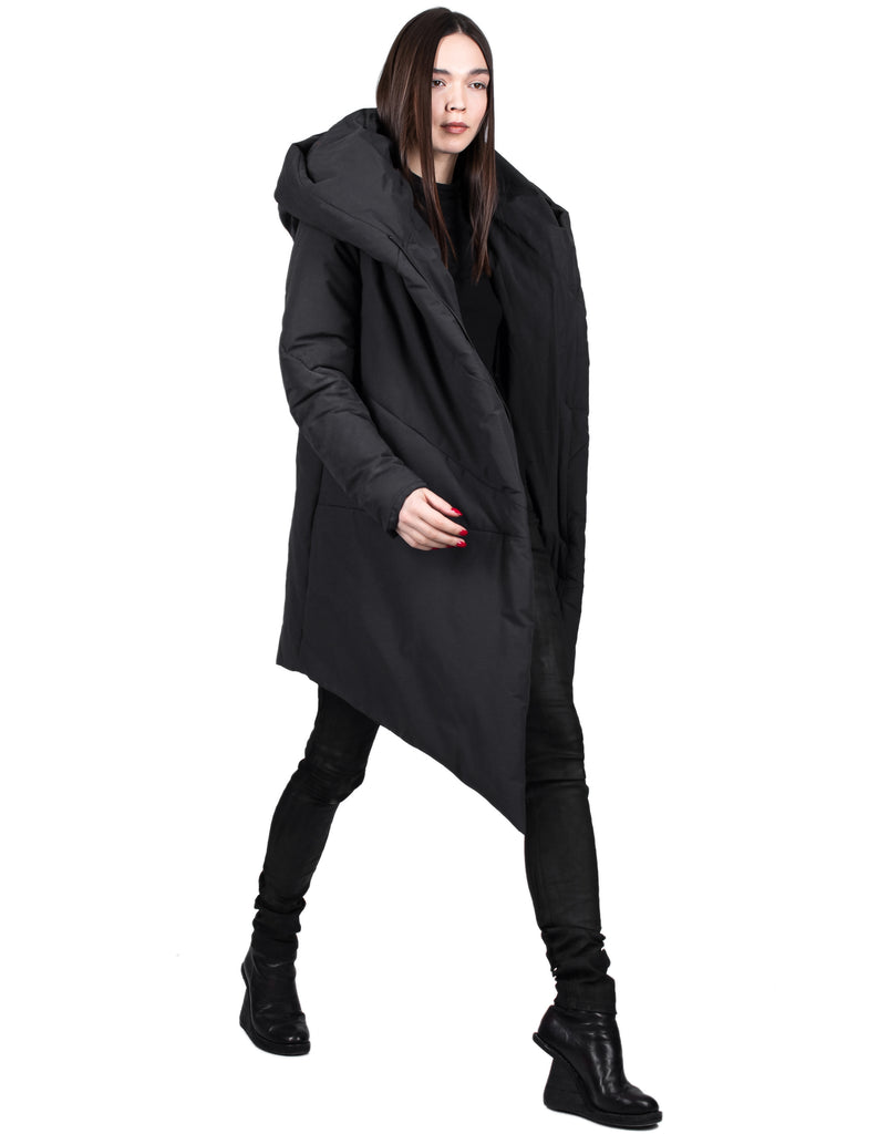 Insulated Asymmetric Cotton Hooded Parka
