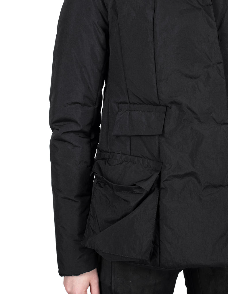 Insulated Waxed Nylon Cargo Pockets Jacket
