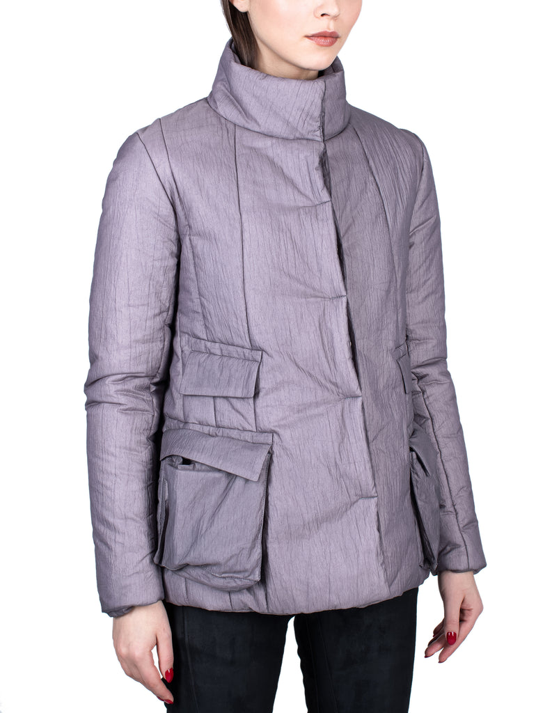 Insulated Waxed Nylon Cargo Pockets Violet Jacket