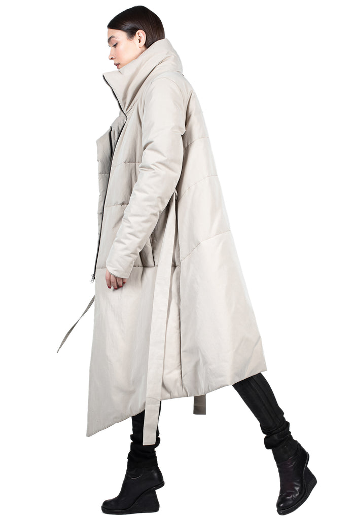 Insulated Asymmetric High-Neck Beige Parka
