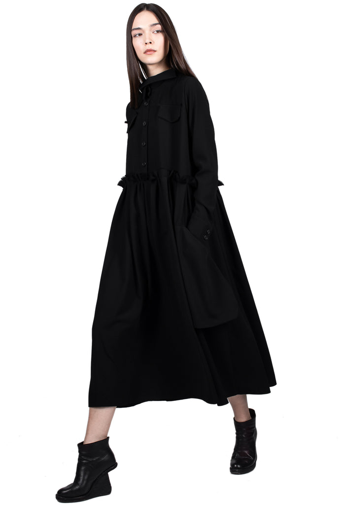 Frilled Waist Shirt Dress with Pockets
