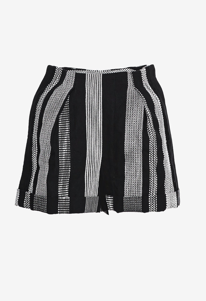 Pleated Striped Shorts