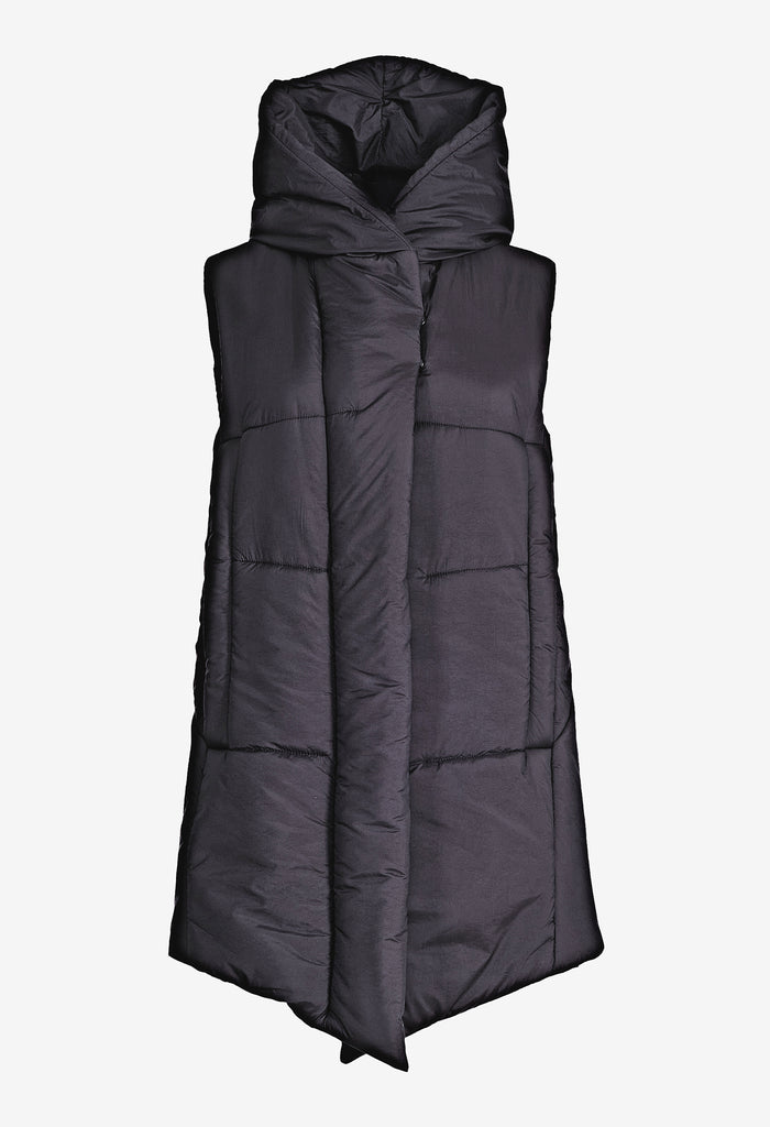 Zipped Hooded Nylon Vest