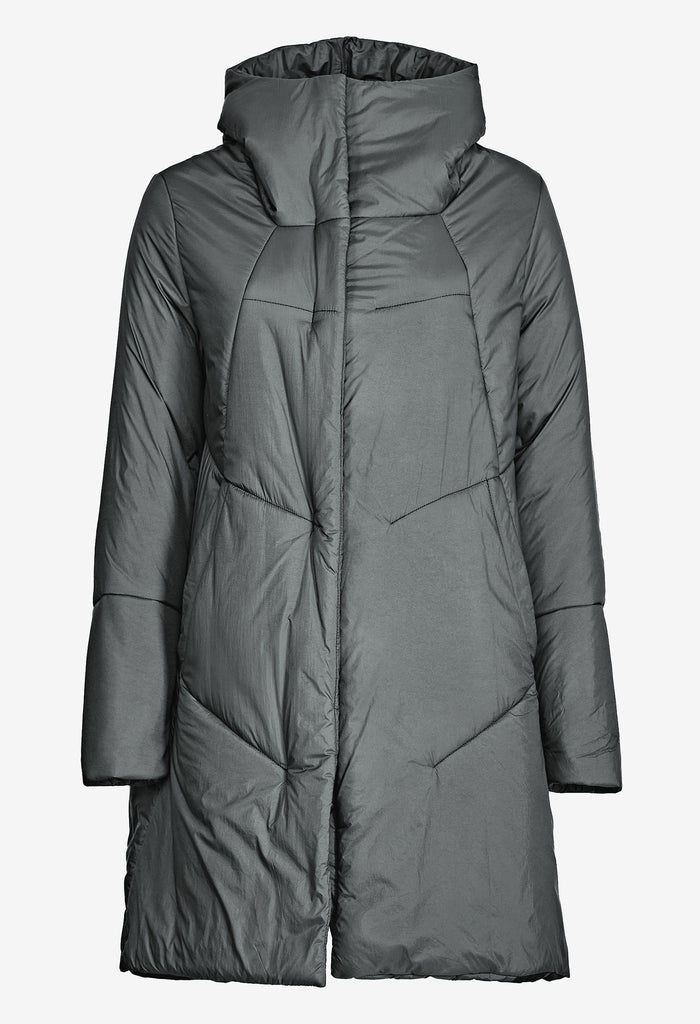 Asymmetric Nylon Padded Coat