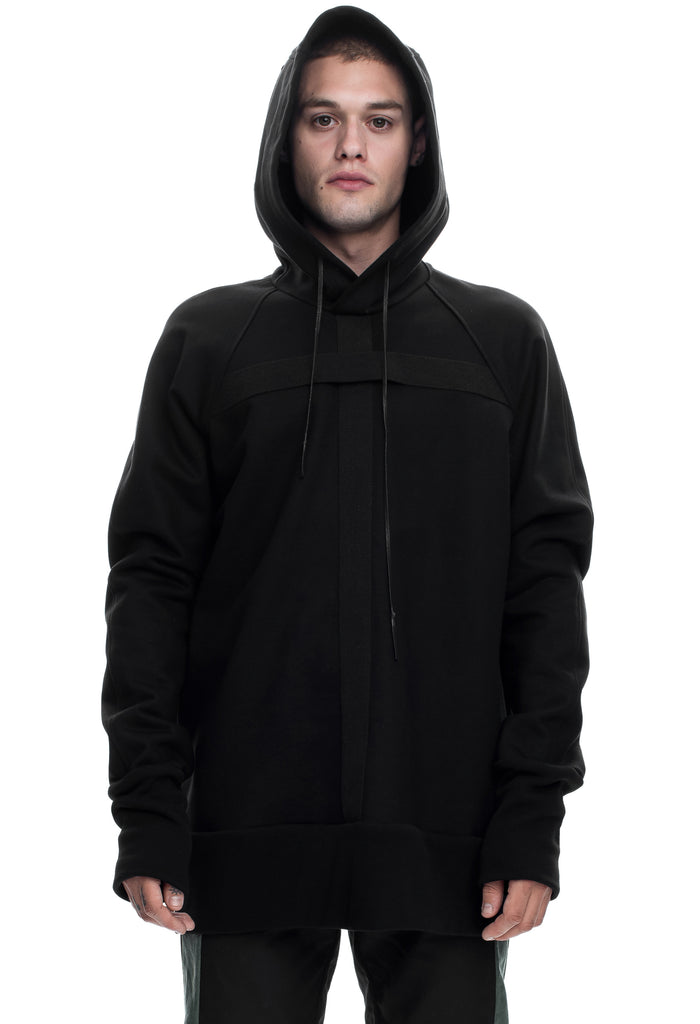 Oversized Black Cross Hooded Sweatshirt