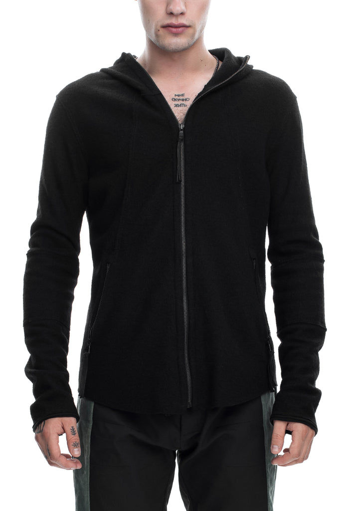 Boiled Wool Hooded Sweatshirt