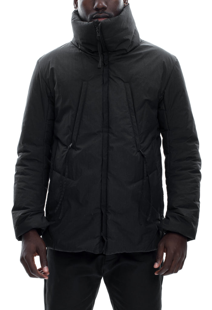 Insulated Waxed Nylon High Neck Jacket