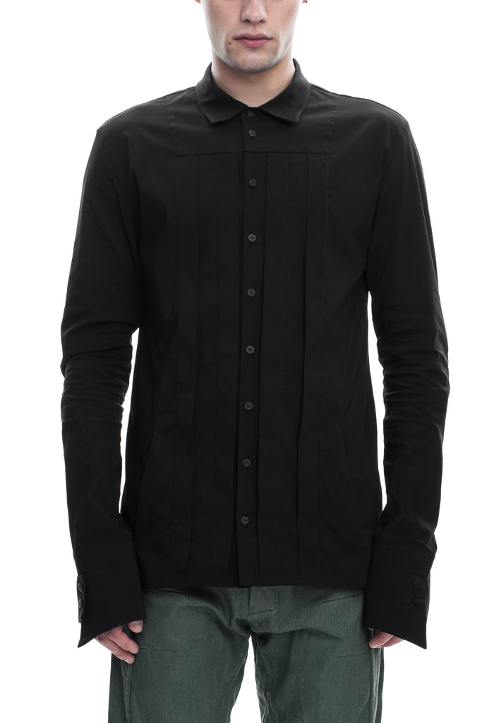 Pleated Cotton-Blend Shirt