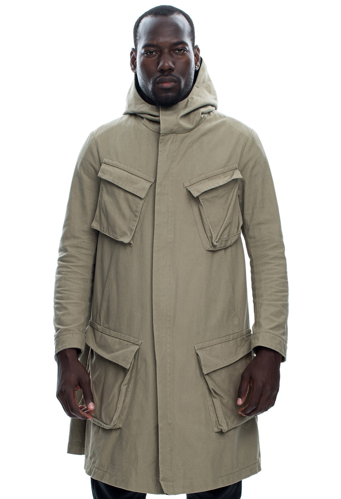 Cargo Pocket Hooded Beige Parka