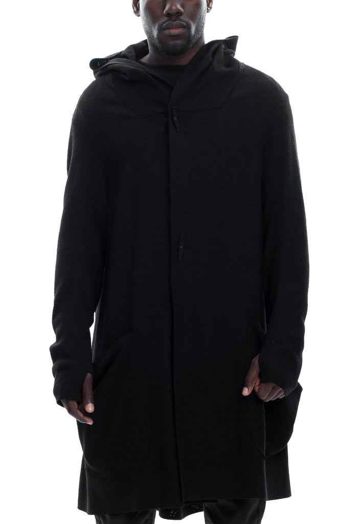Long Hooded Boiled Wool Cardigan