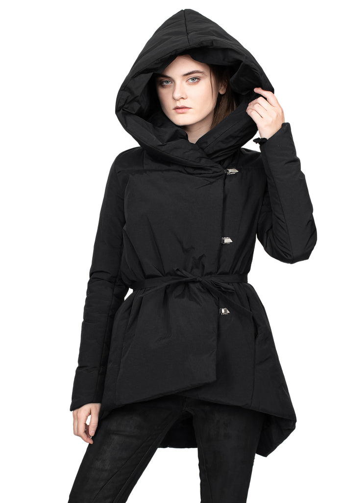 Waxed Nylon Tie Waist Hooded Jacket