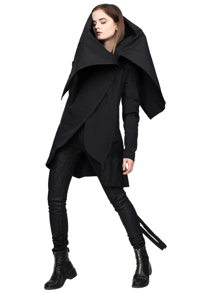 Waxed Nylon Raincoat with Oversized Collar