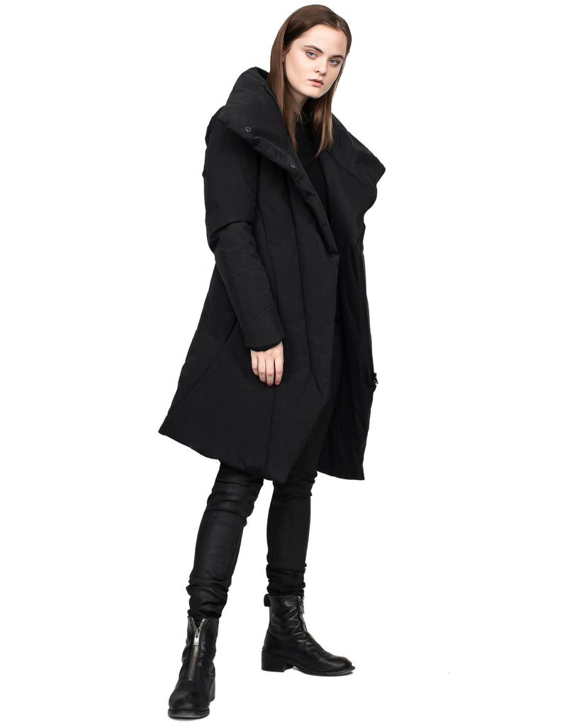 Insulated Waxed Nylon High-Neck Coat