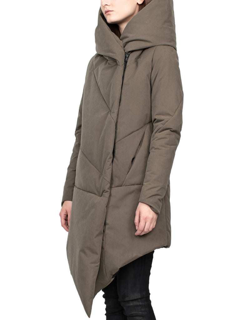 Insulated Waxed Nylon Hooded Brown Parka