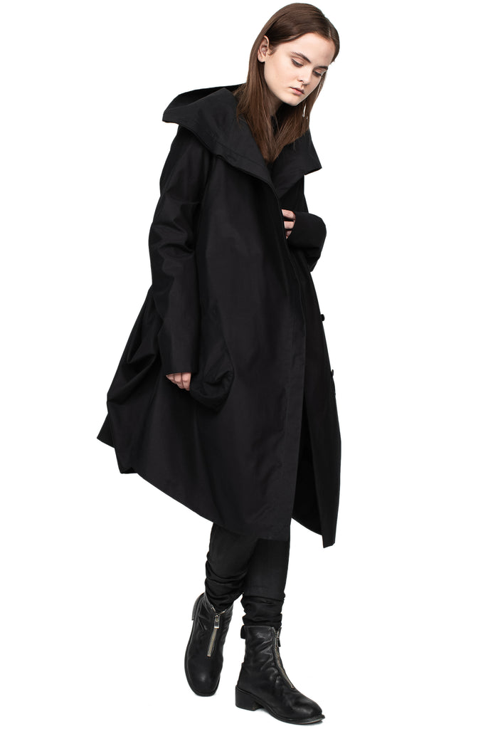 High Neck Draped Raincoat