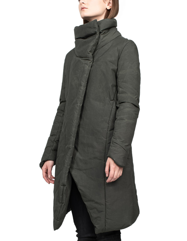 Insulated Waxed Nylon High-Neck Green Coat