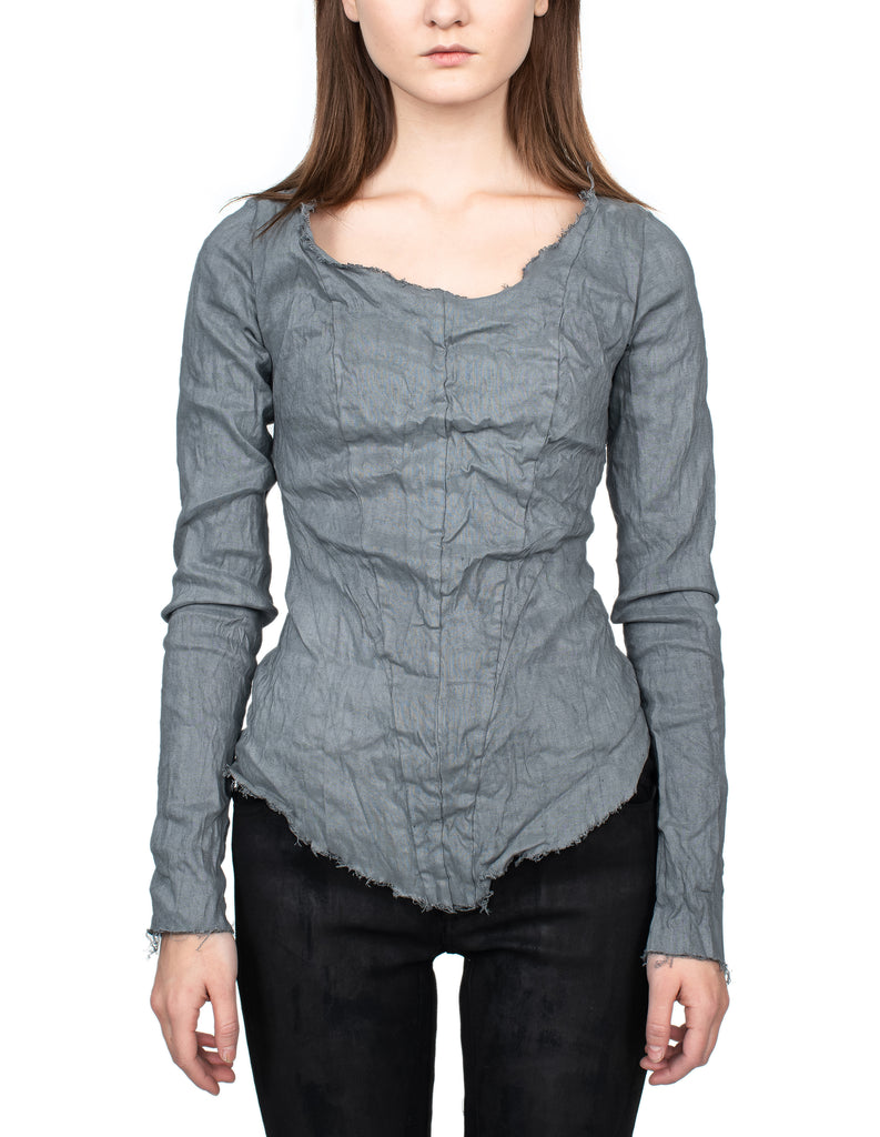 Raw Edge Grey Linen Top