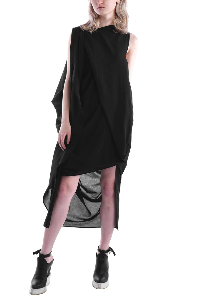 Asymmetric Viscose-Blend Drape Dress