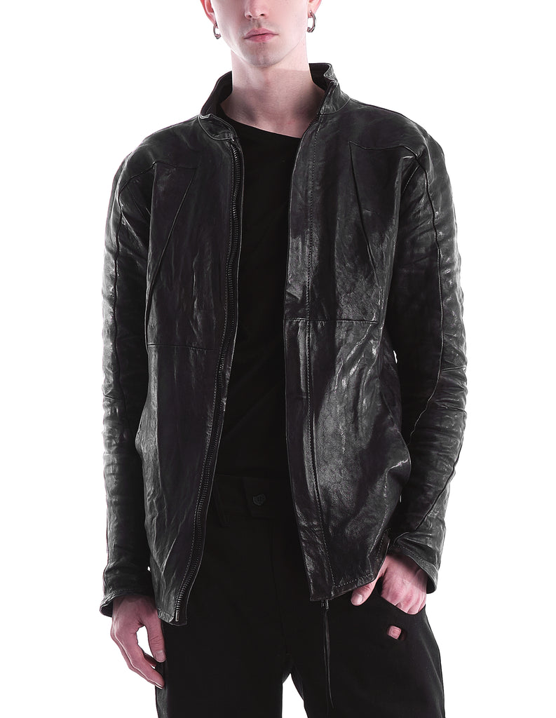 Structured Seamed Leather Jacket