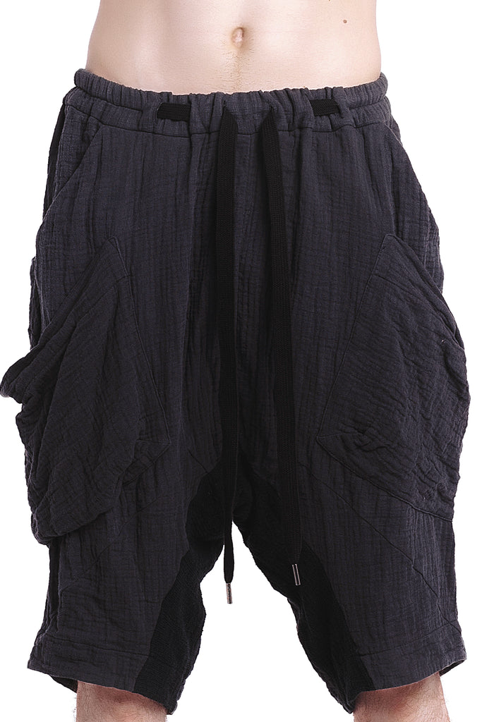 Double-Layered Drawstrings Grey Shorts