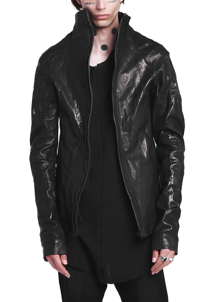 Funnel Neck Textured Leather Jacket
